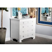 Decmode - 35 x 33 Distressed Antique White 4-Drawer Reclaimed Pine Wood Dresser ft. Escutcheon Details