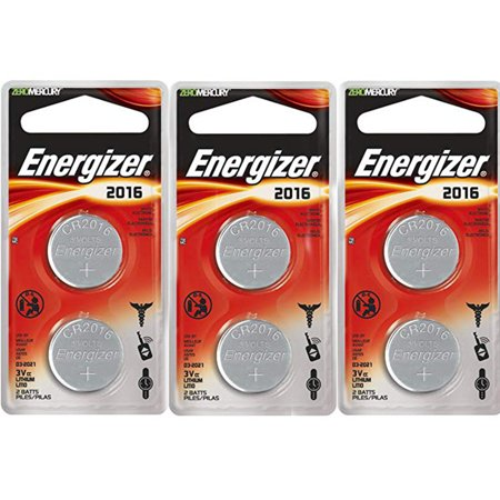 Energizer CR2016 Coin Cell 2-Pack, 3 Count = 6 Batteries ()