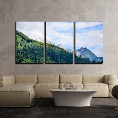 Mountain Three Light (wall26 - 3 Piece Canvas Wall Art - Landscape with Green Mountain under Blue Sky with White Cloud - Modern Home Decor Stretched and Framed Ready to Hang - 24