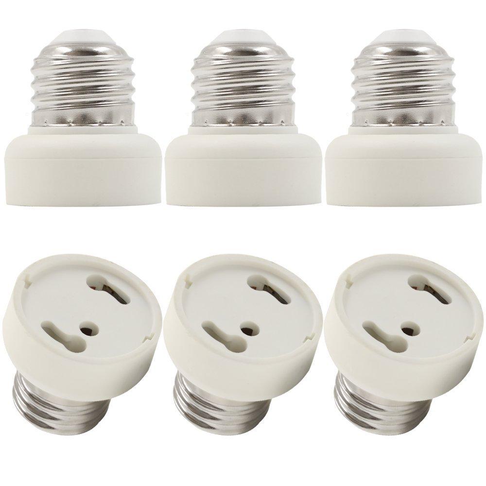 E26/E27 to GU24 Converter, Fits Halogen/LED/CFL Light Bulbs, No Fire Hazard, Pack of 6