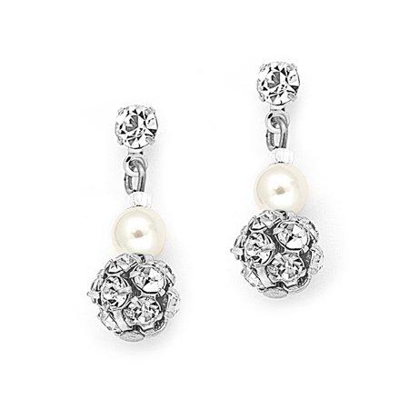 Mariell Ivory Pearl Clip On Drop Wedding Earrings for Woman, Swarovski Crystal Rhinestone Bridal