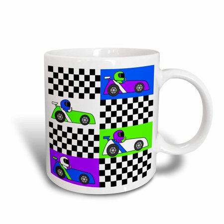 3dRose Boy Stuff Blue Purple Green Racecars Checkered Flag Design, Ceramic Mug, - Blue Checkered Flag
