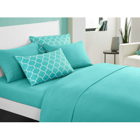 Chic Home Tymon 6 Piece Sheet Set Super Soft Solid Color Deep Pocket Design - Includes Flat & Fitted Sheets and Bonus Printed Geometric Pattern Pillowcases, King Turquoise