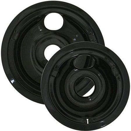 Black Self Cleaning Range - Range Kleen 2-Pack Porcelain Drip Pan Set, Black