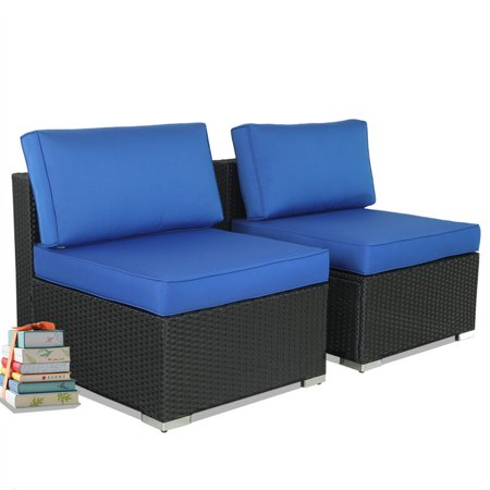 Stupendous Patio Sofa Furniture Sectional Black Rattan Royal Blue Cushion Conversation Couch 2Pcs Middle Sofas Theyellowbook Wood Chair Design Ideas Theyellowbookinfo