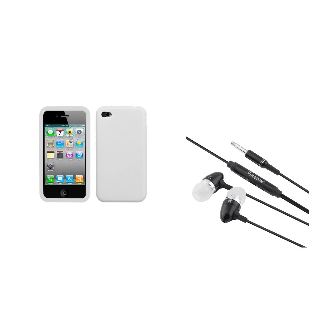 Insten Solid Case Cover (White) For Apple iPhone 4 4S + 3.5mm Handsfree Earphone