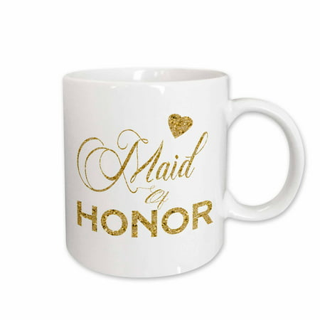 3dRose Maid Of Honor In Digital Faux Gold With A Heart - Ceramic Mug, 11-ounce