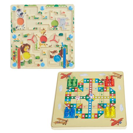 KARMAS PRODUCT 2-in-1 Kids Puzzle Toys Animal Square Maze + Flying Chess on Board Game Eduactional Handcraft Toys for Children Family Interactive Game - Square Game