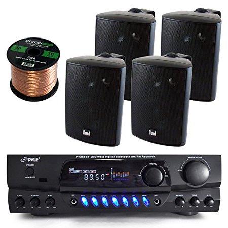 Pyle PT265BT Bluetooth 200 Watt Digital Karakoe Receiver Amplifier Bundle Combo With 4x Dual LU43PB 100-Watt 3-Way Black Indoor/Outdoor Speakers + Enrock 50 Foot 16g Speaker