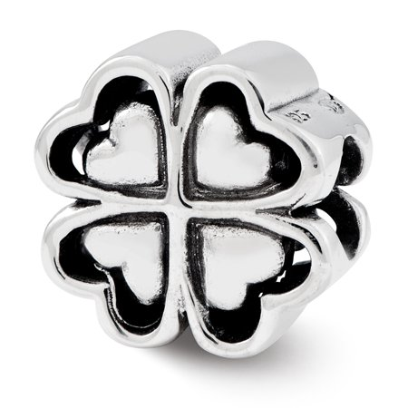 Lex & Lu Sterling Silver Reflections Four Leaf Heart Clover Bead