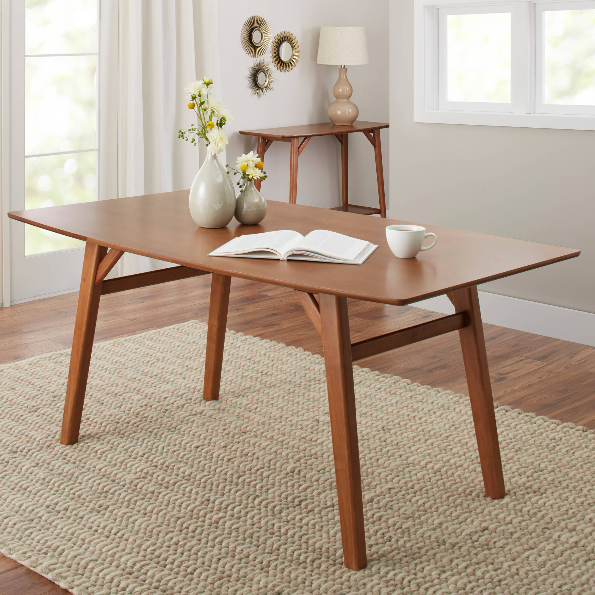 Better Homes U0026 Gardens Reed Mid Century Modern Dining Table, Pecan