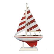 Handcrafted Nautical Decor Pacific Sailer Wooden Striped Model Sailboat