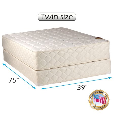 Dream Sleep Grandeur Deluxe Double-Sided Gentle Firm Twin Mattress and Box Spring Set with Bed Frame Included - Orthopedic type, Spine Support, Luxury Height, Long Lasting