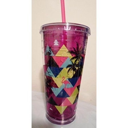 cool gear 24 oz freezer gel chiller tumbler (purple flamingoes) ()