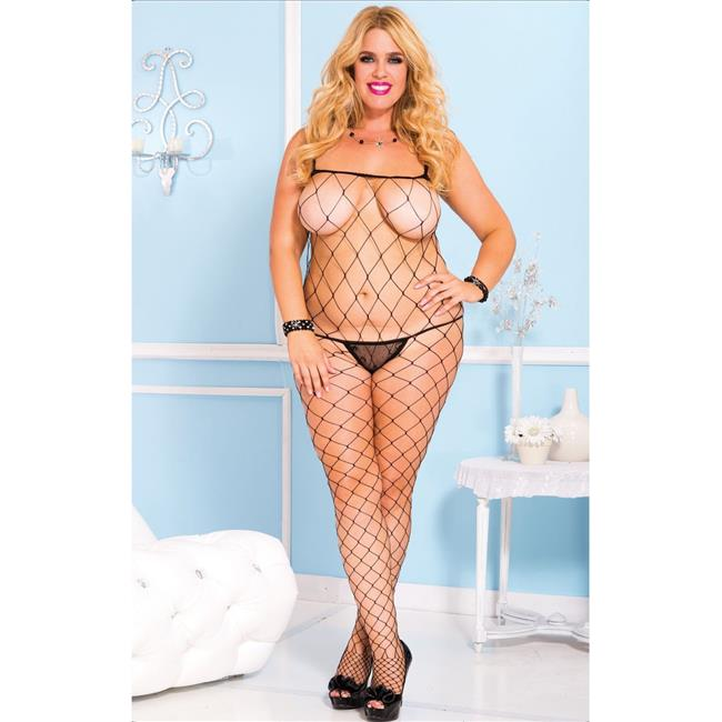 Music Legs 1924Q-BLACK Plus Size Fence Net Spaghetti Straps Spandex Body Stocking, Black