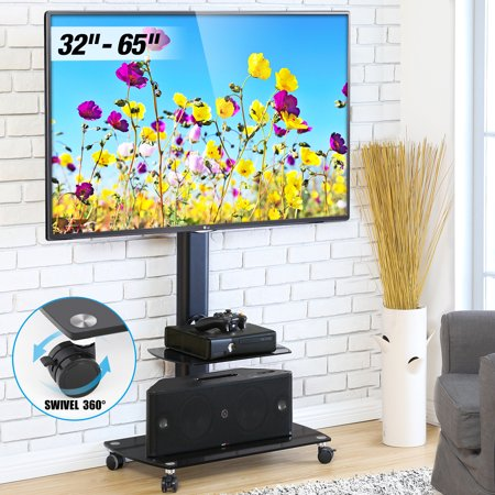 FITUEYES Floor Swivel TV Stand with Mount Rolling TV Stand Cart for up to 65 inch TV TT206503GB