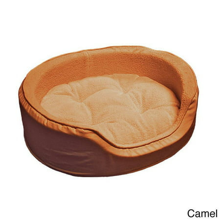 Furhaven Lg Snuggle Terry & Suede Oval Pet Bed Camel