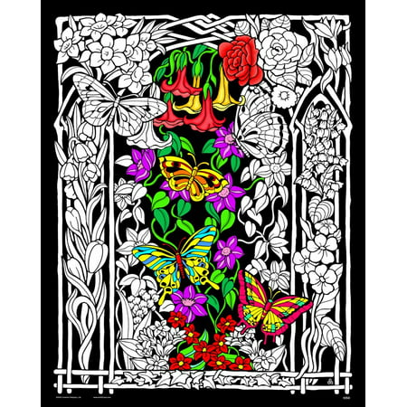 Butterflies and Flowers - Fuzzy Velvet Coloring Poster 16x20 Inches](Velvet Posters To Color)