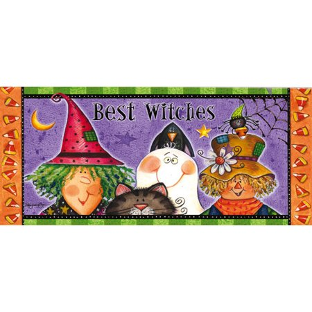 Evergreen Best Witches Decorative Mat Insert, 10 x 22