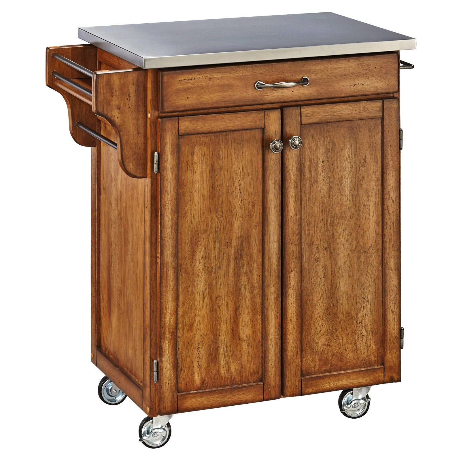 Home Styles Kitchen Cart, Black / Stainless Steel Top - Walmart.com