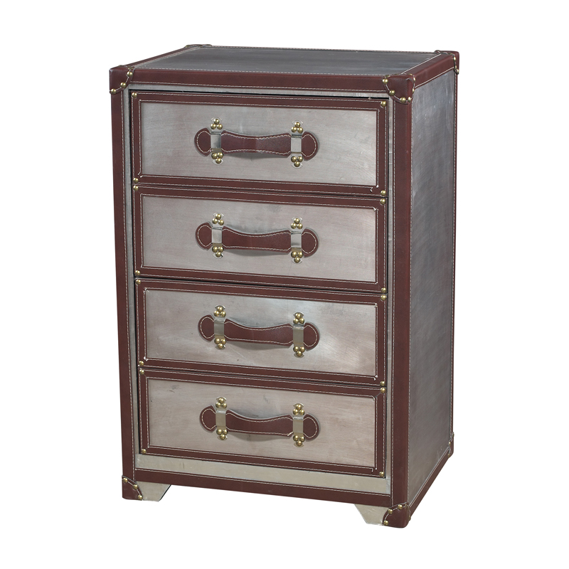 Sterling Industries 116-006 Cargo Chest In Chrome & Tan