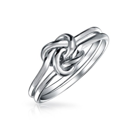Simple Double Band Love Unity Irish Celtic Knot Infinity Forever Friendship Ring Band For Teen 925 Sterling Silver 1MM ()