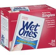 Wet Ones Fresh Scent Antibacterial Hand Wipes Pocket Size Singles, 24 count