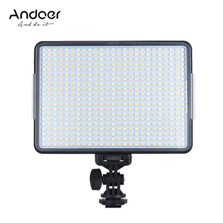 Andoer W500 Professional Dimmable LED Video Light Fill Light 3200K/5600K Bi-Color Temperature 32W CRI90+ for Portrait Wedding Photography Interview Video Recording Live
