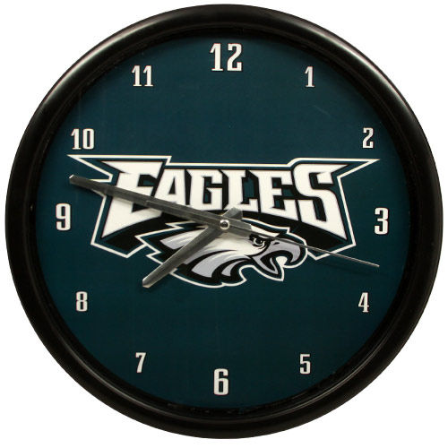 Philadelphia Eagles Black Rim Basic Clock