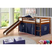 Donco 750TE-750C-TB Circles Low Loft Bed with Blue Tent, Twin, Dark Cappuccino