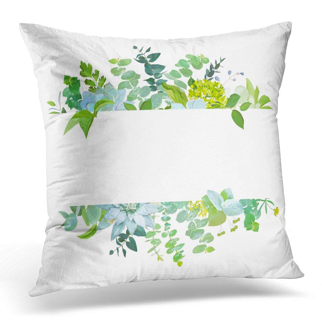 Bsdhome Horizontal Botanical Baby Blue Eucalyptus Succulents Green Hydrangea Wildflowers Various Plants Leaves Pillow Case Pillow Cover 20x20 Inch Walmart Canada