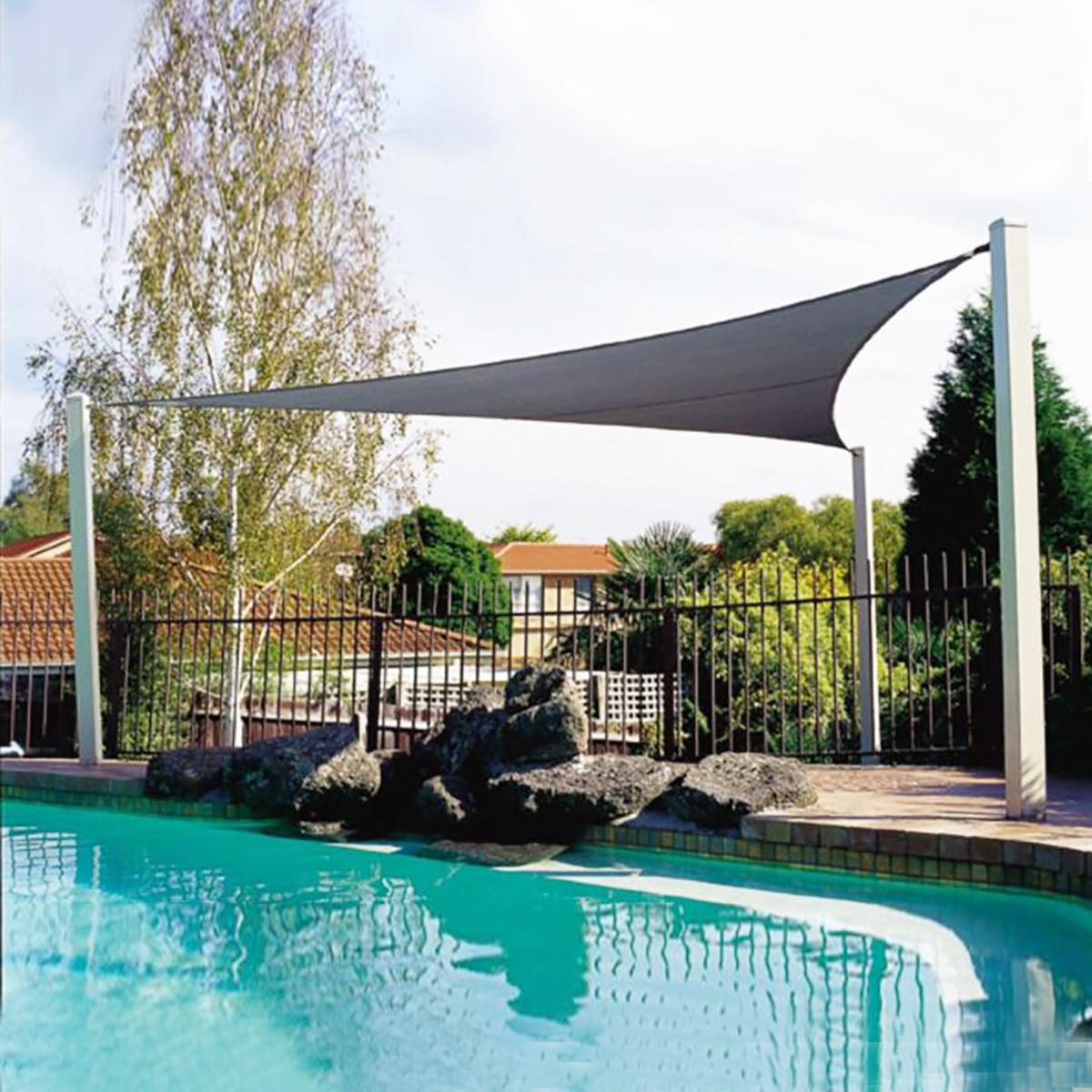 Garden Patio Pool Awning Cover Outdoor Waterproof Sun Shade Sail Canopy Sunshade UV Blocked Beige Fabric Triangle 3.6m/5m