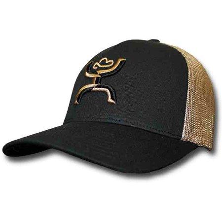 SMALL MEDIUM HOOEY COACH MESH BACK BLACK   KHAKI FLEXFIT HAT ... 9a266bfbcea7