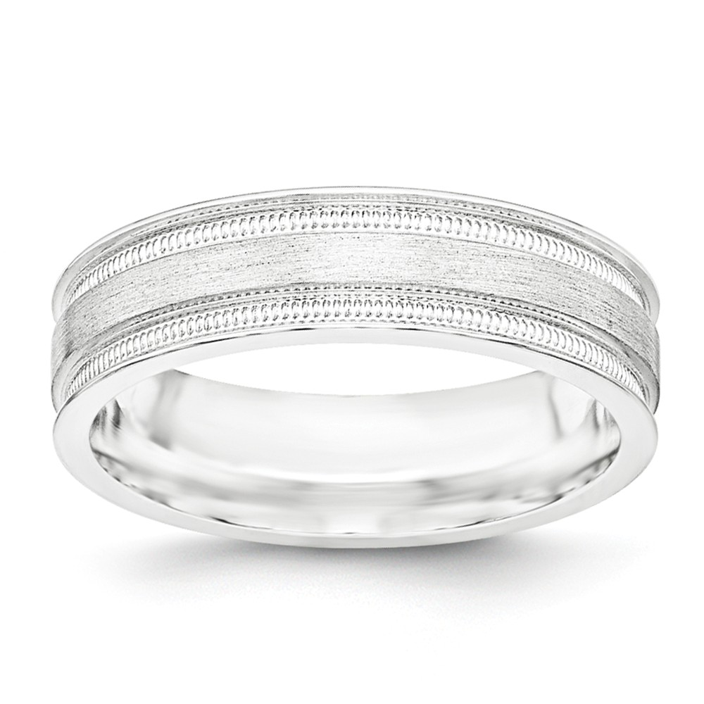 925 Sterling Silver 6mm Brushed Fancy Band Size 12.5 Size-12.5