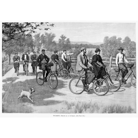 Bicycle Tourists 1896 Na Group Of Bicycle Tourists Enjoying A Ride Through The Countryside American Newspaper Illustration By Arthur Burdett Frost 1896 Rolled Canvas Art     18 X 24