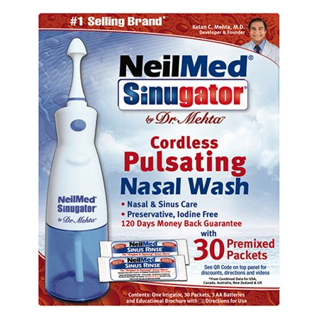 NeilMed Sinugator Cordless Pulsating Nasal Wash with 30 Premixed Packets 1 kit by