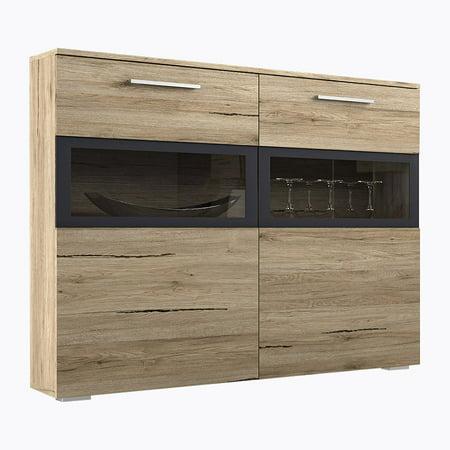 Sarah Side Cabinet with LED, San Remo Oak