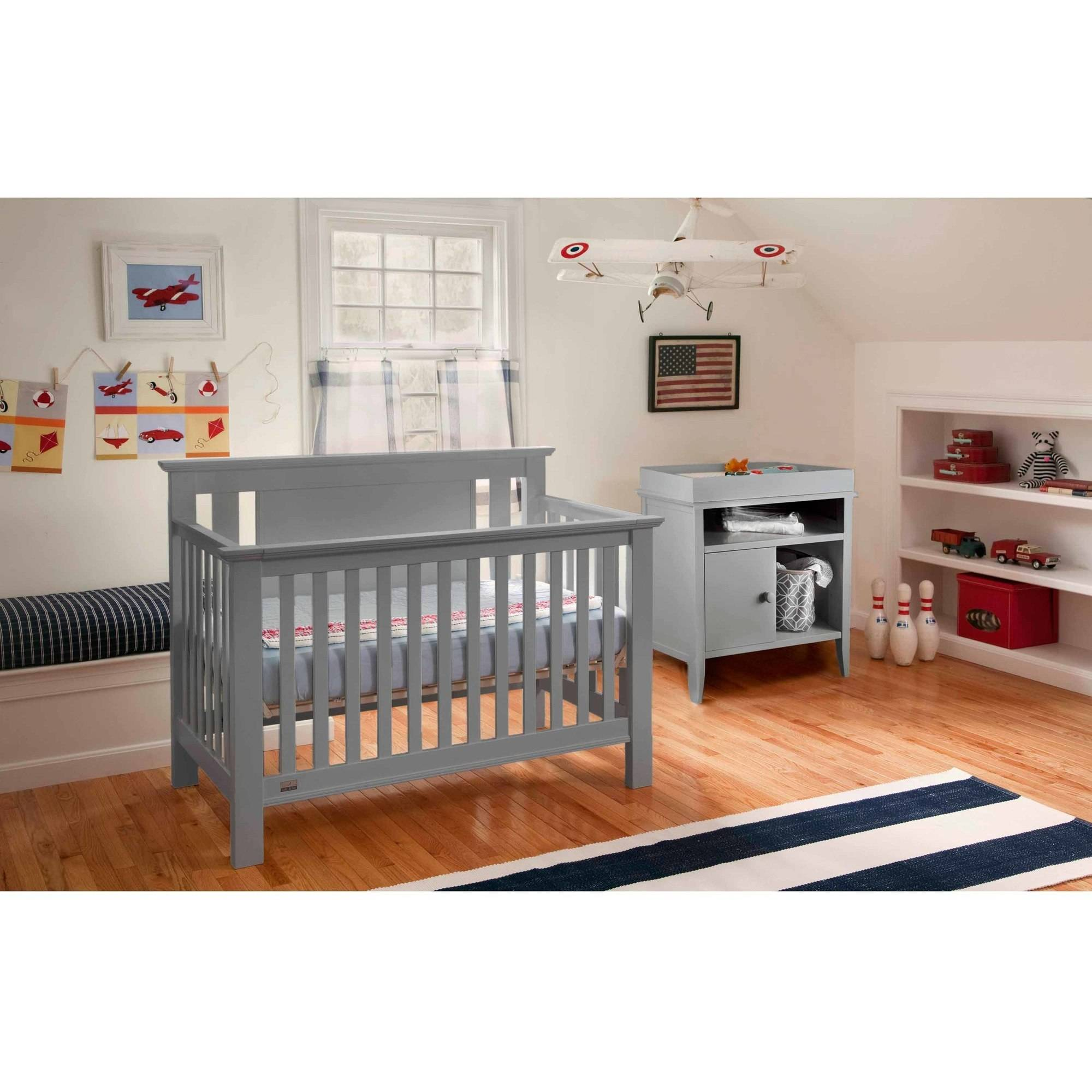 Lolly and Me Delaney 4-in-1 Fixed Side Convertible Crib, Grey