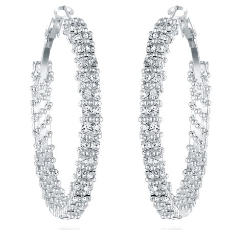 Silver Plated Hook (Gemini Women's Silver Plated Swarovski Crystal Big Large Round Hoop Earring Gm008 , Size: 2 inches , Color: Silver)