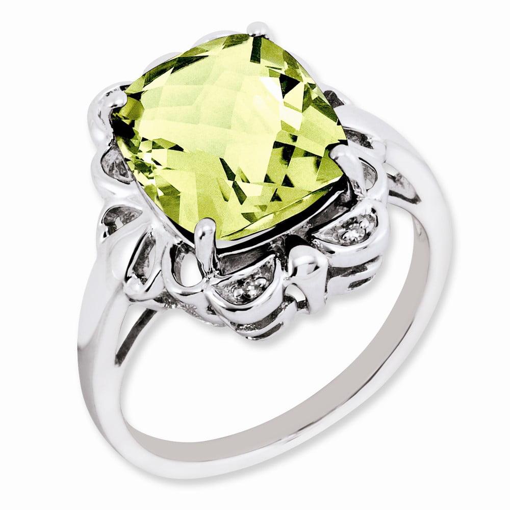 925 Sterling Silver Prong Set Checkerdbaod Cushion Lemon Quartz and Diamond Ring by