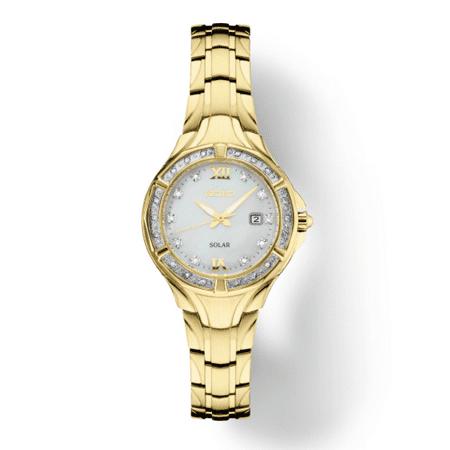 Seiko Women's Solar Diamond Collection Diamond-Accent Gold-Tone Stainless Steel Bracelet SUT380