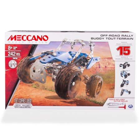 Erector by Meccano, Off-Road Rally, 15 Vehicle Model Building Set, 242 Pieces, For Ages 8 and up, STEM Construction Education Toy