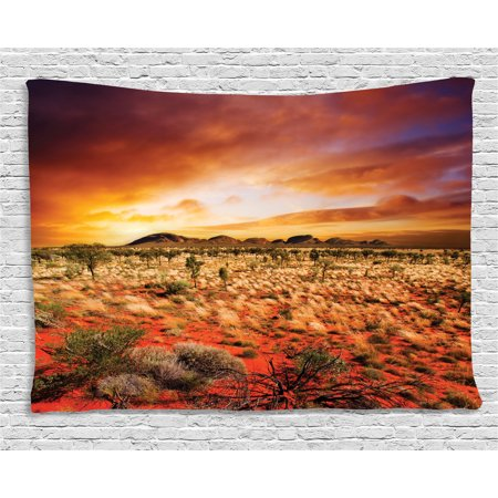 Desert Tapestry, Sunset over Central Australian Landscape Dreamy Dramatic Sky Scenic Nature, Wall Hanging for Bedroom Living Room Dorm Decor, 60W X 40L Inches, Orange Yellow Coral, by Ambesonne
