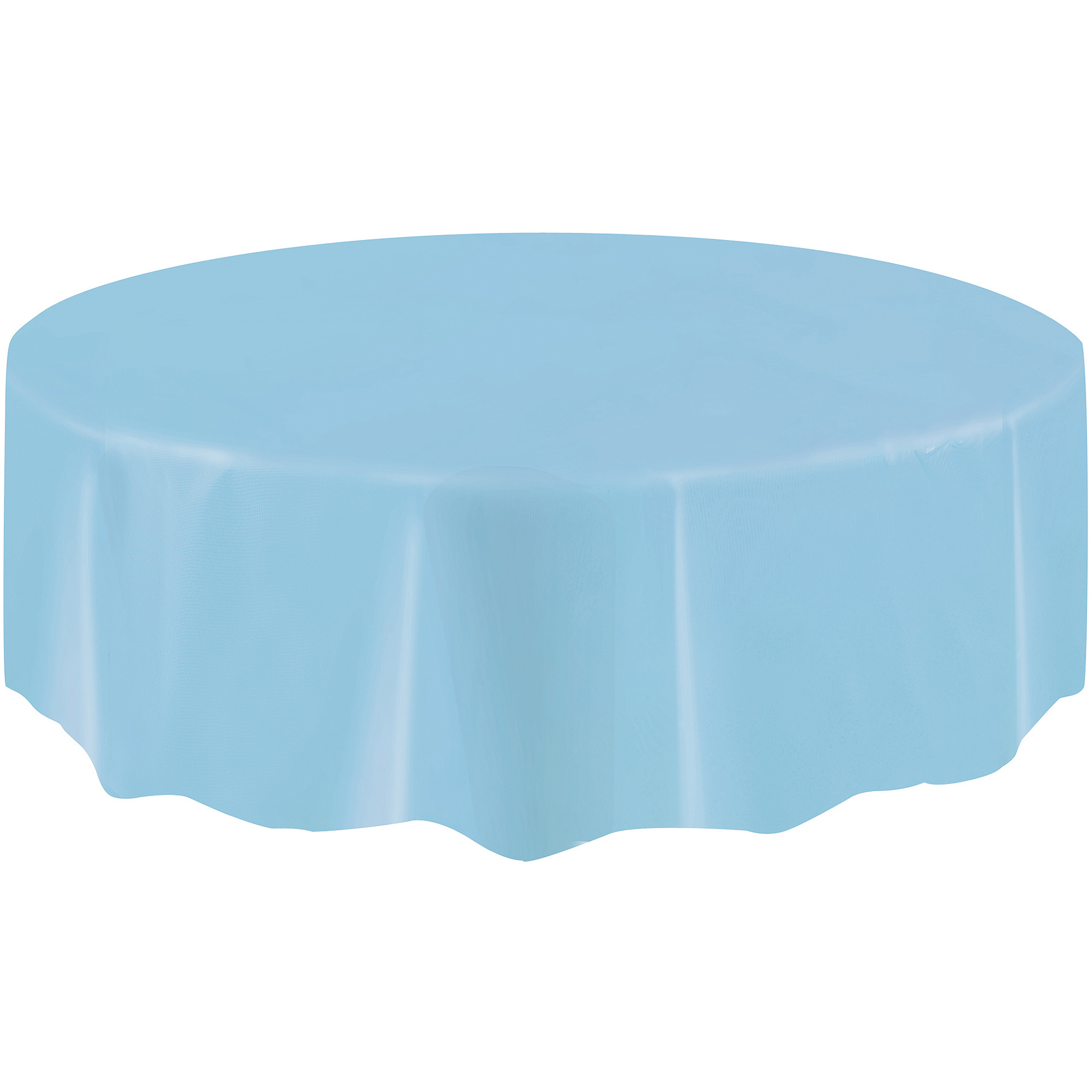 """Round Plastic Baby Blue Table Cover, 84"""""""