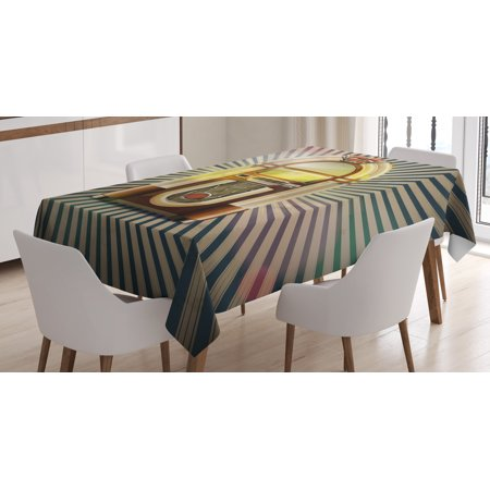 Jukebox Tablecloth, Retro Vintage 50s Pin Up Inspired Striped Backdrop Old Music Box, Rectangular Table Cover for Dining Room Kitchen, 60 X 84 Inches, Brown Beige and Petrol Green, by Ambesonne - 50s Table