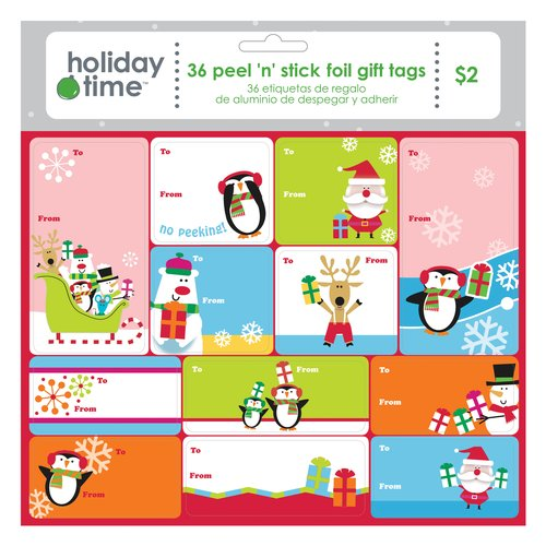 Holiday Time Foil Cool Tule Gift Tags, 36-Pack