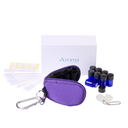 Essential Oil Key Chain With 8 5/8 Dram (2 ml) Vials - Perfect Essential Oils Case for Travel - Fits Easily in a Purse or Makeup Bag - Carry Your Favorite Essential Oils Everywhere You Go!