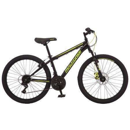 Mongoose Excursion mountain bike, 24-inch wheel, 21 speeds, boy frame, black/ neon yellow Fox Mountain Bikes