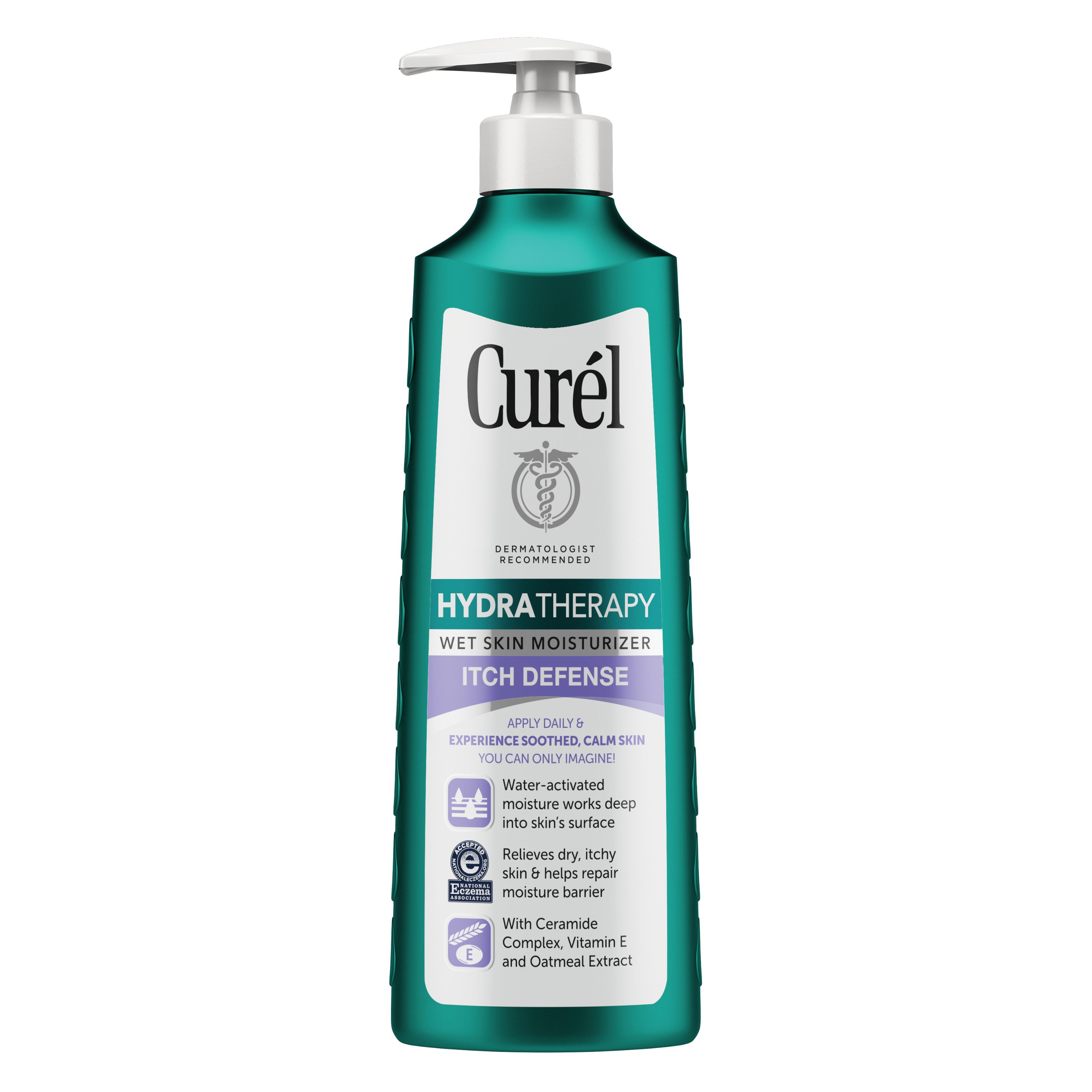 Curel Hydra Therapy Itch Defense Wet Skin Moisturizer for Dry, Itchy Skin, 12 Ounces