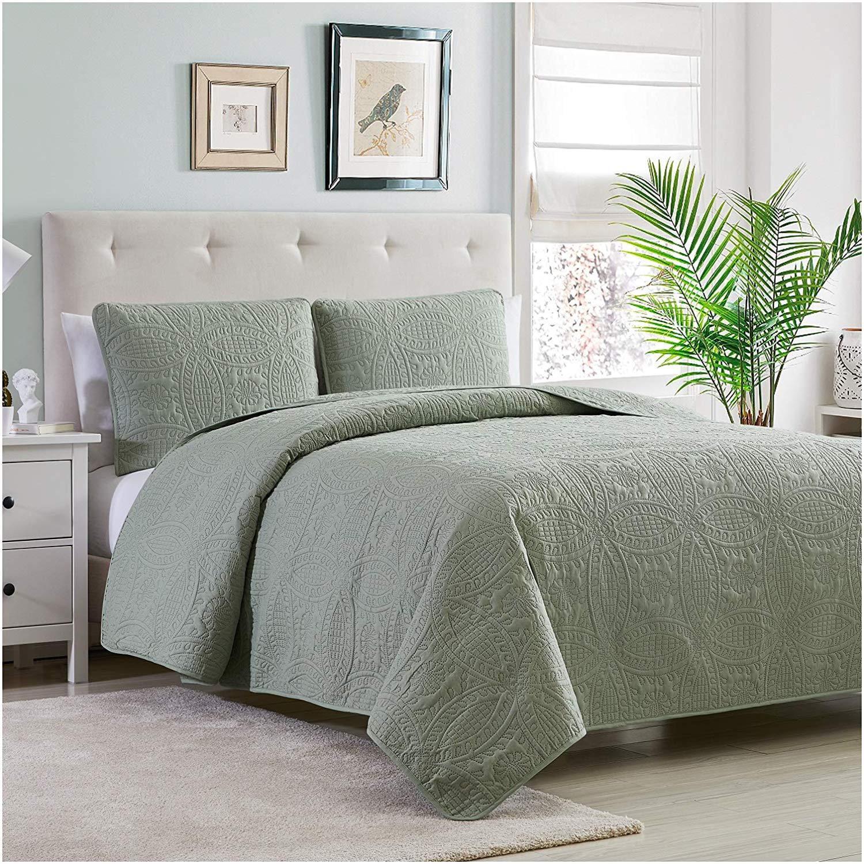 Comfy Bedding Extra Lightweight Frame 3-Piece Bedspread Coverlet Set King//Cal King, Navy Blue